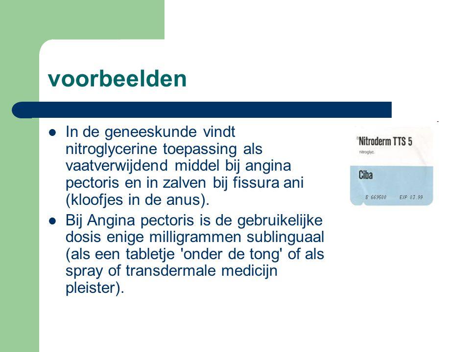 voorbeelden  In de geneeskunde vindt nitroglycerine toepassing als vaatverwijdend middel bij angina pectoris en in zalven bij fissura ani (kloofjes i