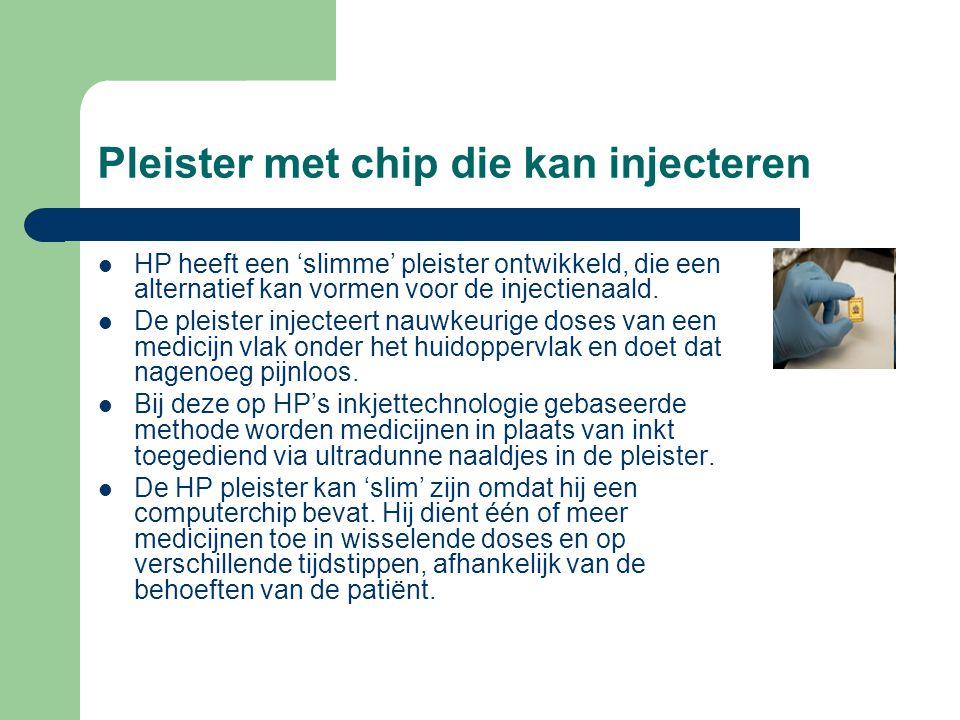 Pleister met chip die kan injecteren  HP heeft een 'slimme' pleister ontwikkeld, die een alternatief kan vormen voor de injectienaald.