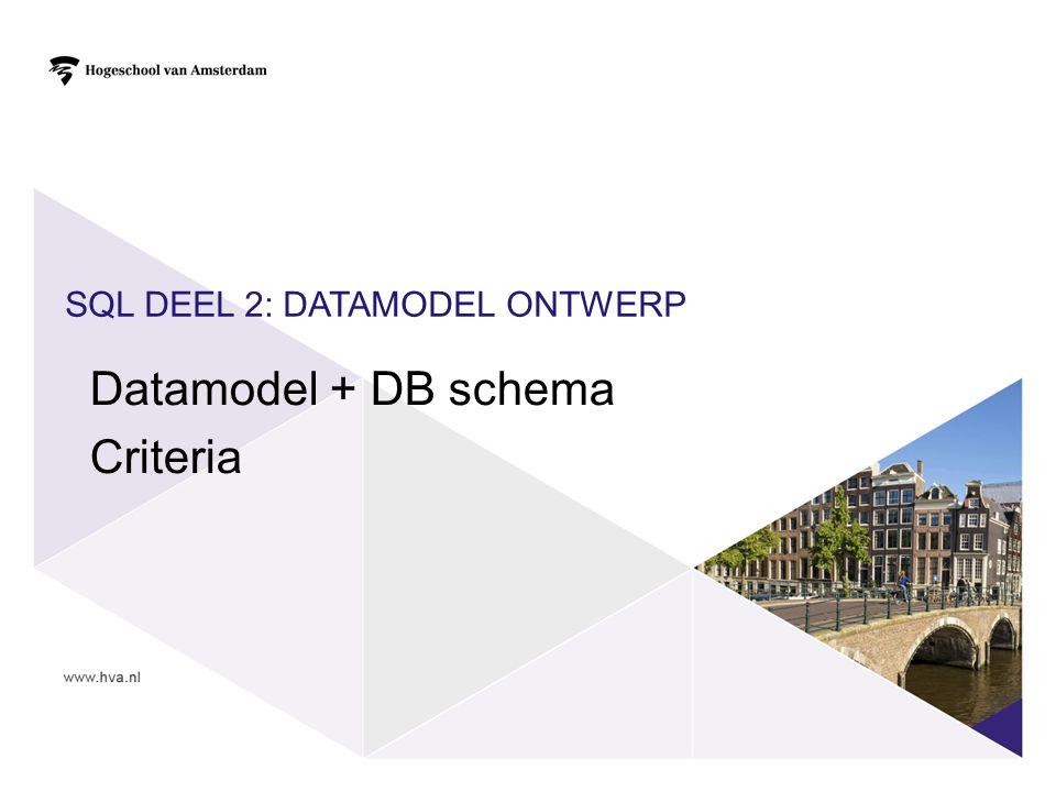SQL DEEL 2: DATAMODEL ONTWERP Datamodel + DB schema Criteria