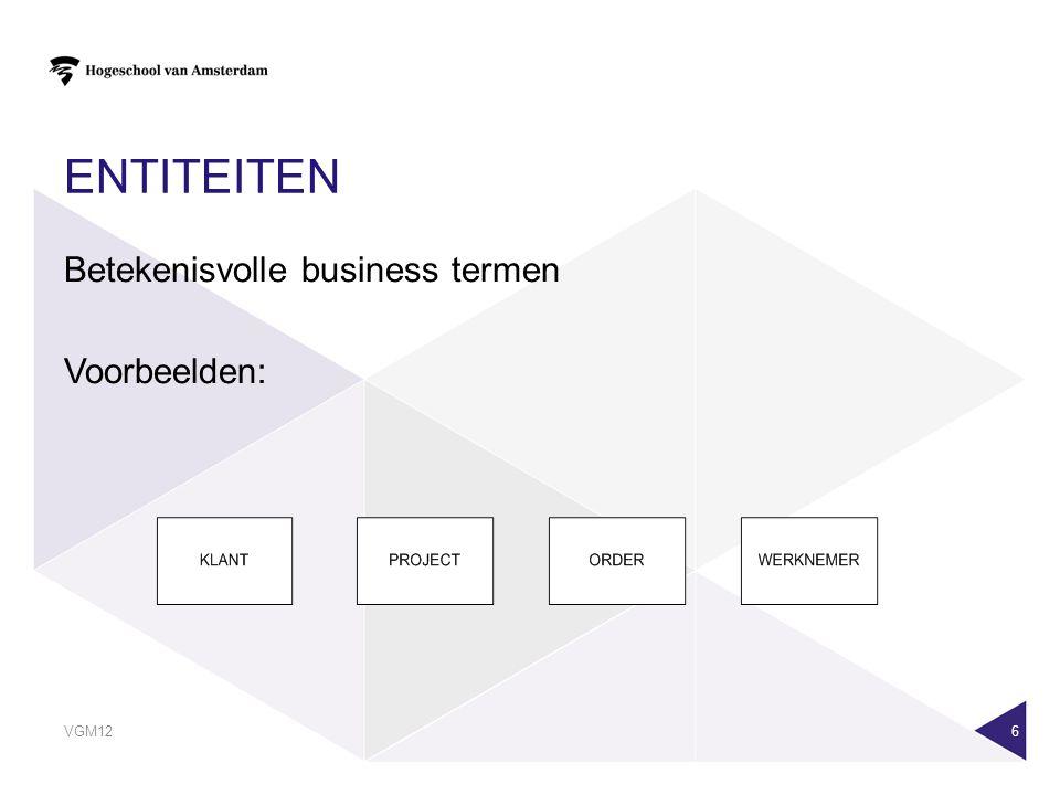 VGM12 6 ENTITEITEN Betekenisvolle business termen Voorbeelden: