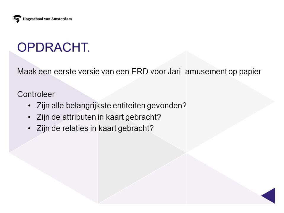 OPDRACHT. Maak een eerste versie van een ERD voor Jari amusement op papier Controleer •Zijn alle belangrijkste entiteiten gevonden? •Zijn de attribute