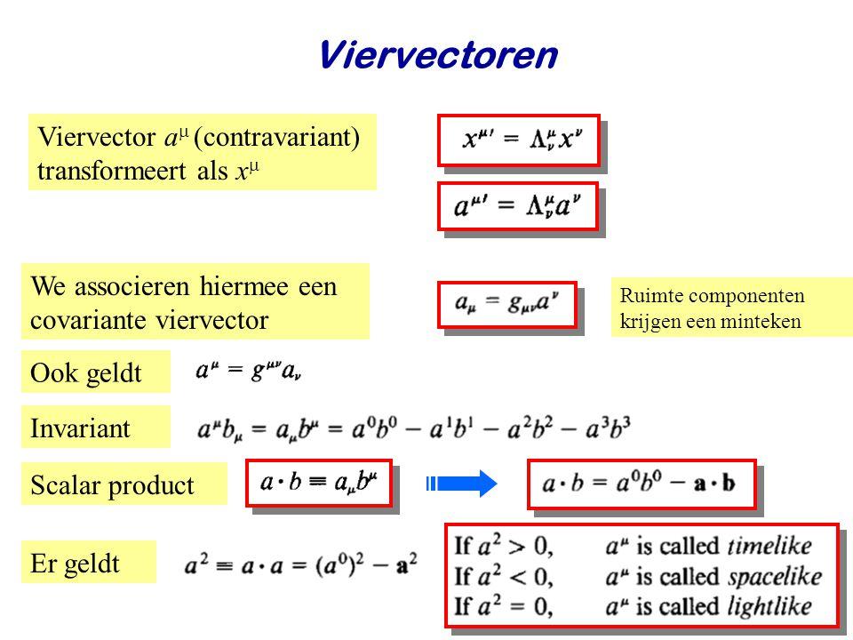 June 24, 2014Jo van den Brand14 Viervectoren Viervector a  (contravariant) transformeert als x  We associeren hiermee een covariante viervector Rui
