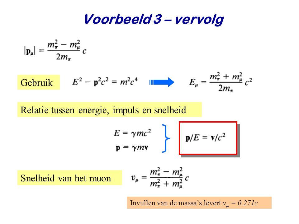June 24, 2014Jo van den Brand22 Voorbeeld 3 – vervolg Snelheid van het muon Gebruik Invullen van de massa's levert v  = 0.271c Relatie tussen energie