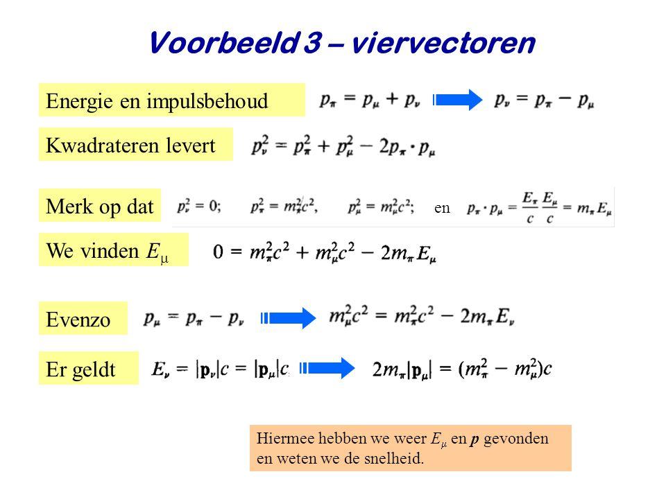 June 24, 2014Jo van den Brand23 Voorbeeld 3 – viervectoren Er geldt Energie en impulsbehoud Hiermee hebben we weer E  en p gevonden en weten we de sn