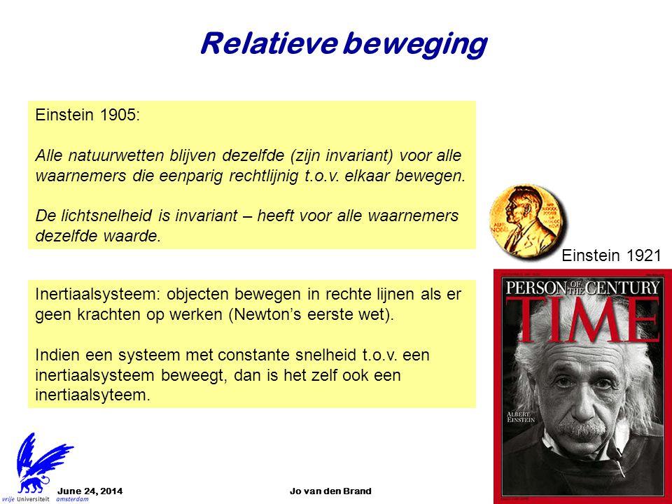 June 24, 2014Jo van den Brand3 Relatieve beweging Einstein 1905: Alle natuurwetten blijven dezelfde (zijn invariant) voor alle waarnemers die eenparig
