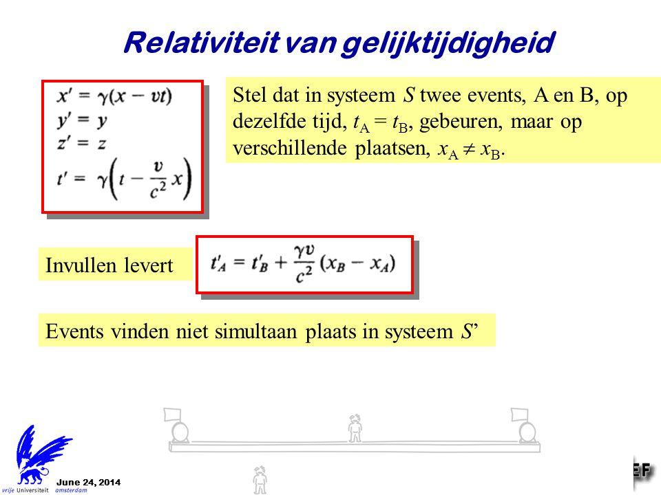 June 24, 2014Jo van den Brand6 Relativiteit van gelijktijdigheid Stel dat in systeem S twee events, A en B, op dezelfde tijd, t A = t B, gebeuren, maa