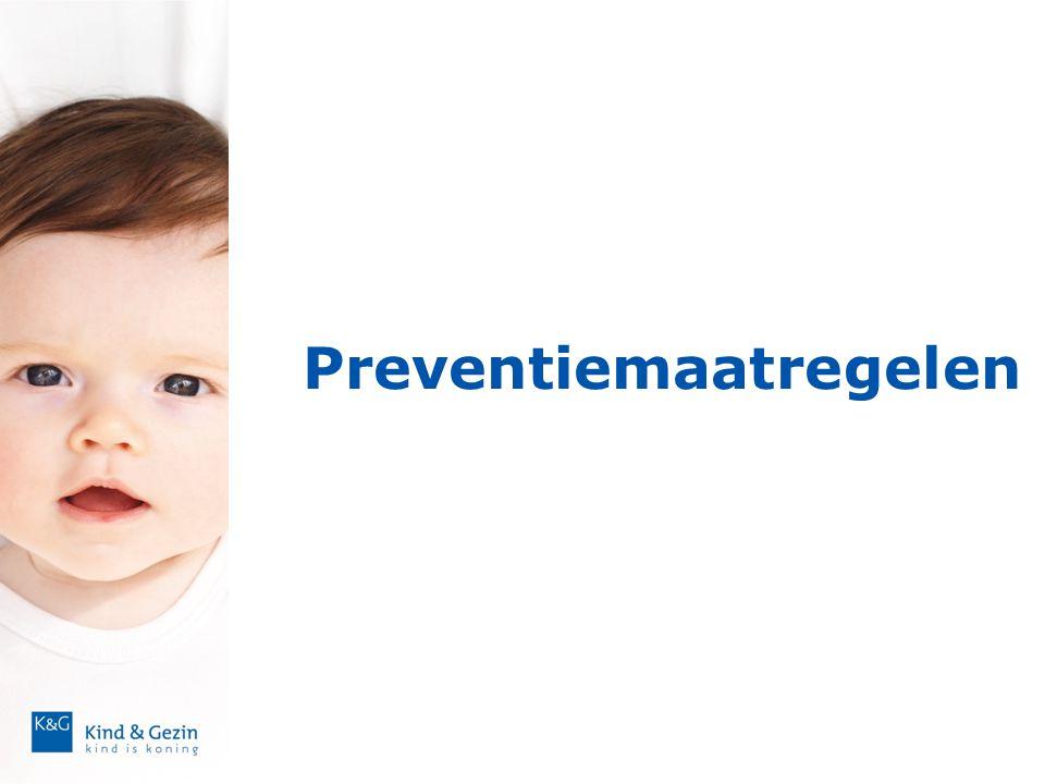 Als ouders het anders willen: tips • Aanpak: - toelichten bij inschrijving (folder) - opnemen in huishoudelijk reglement • Ouders: - aanmoedigen in aanleren veilige slaapgewoonten vanaf de geboorte - samen verkeerd aangeleerd gedrag afleren Open communicatie en positieve sfeer