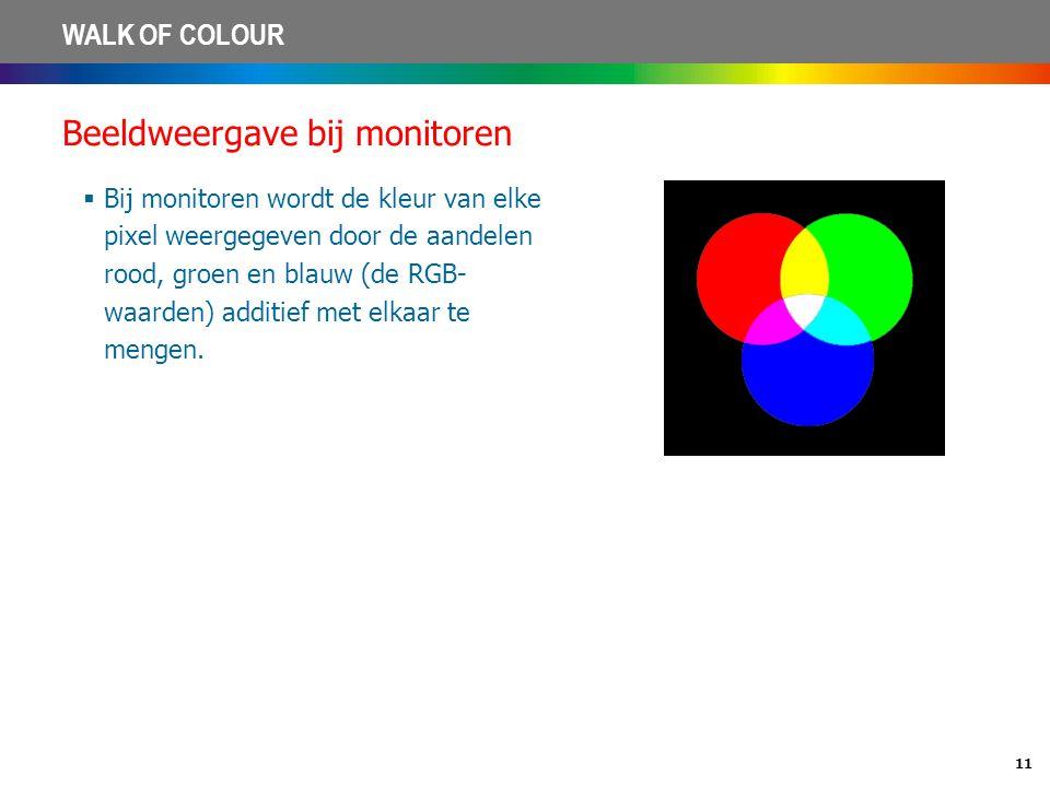 11 WALK OF COLOUR Beeldweergave bij monitoren  Bij monitoren wordt de kleur van elke pixel weergegeven door de aandelen rood, groen en blauw (de RGB-