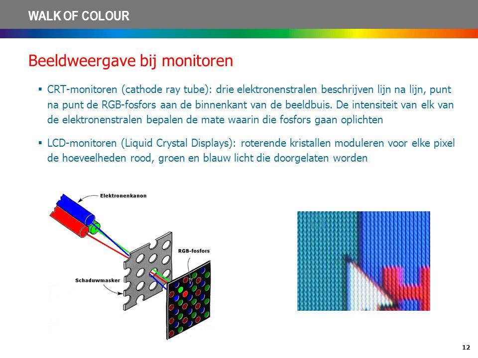 12 WALK OF COLOUR Beeldweergave bij monitoren  CRT-monitoren (cathode ray tube): drie elektronenstralen beschrijven lijn na lijn, punt na punt de RGB