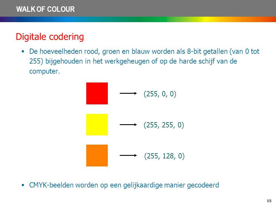 15 WALK OF COLOUR Digitale codering  De hoeveelheden rood, groen en blauw worden als 8-bit getallen (van 0 tot 255) bijgehouden in het werkgeheugen o