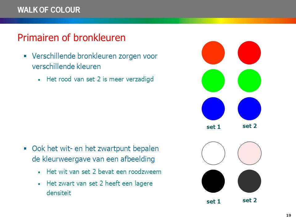 19 WALK OF COLOUR Primairen of bronkleuren  Verschillende bronkleuren zorgen voor verschillende kleuren • Het rood van set 2 is meer verzadigd set 1