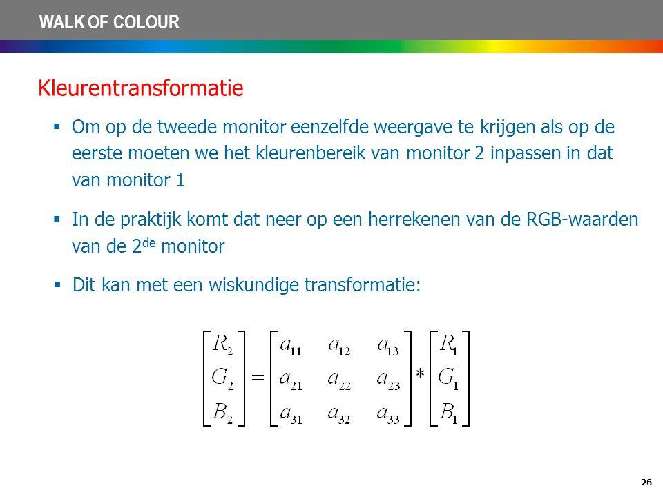 26 WALK OF COLOUR Kleurentransformatie  Om op de tweede monitor eenzelfde weergave te krijgen als op de eerste moeten we het kleurenbereik van monito