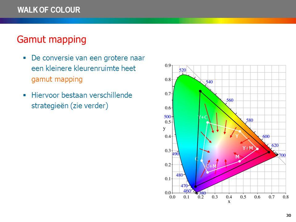 30 WALK OF COLOUR Gamut mapping  De conversie van een grotere naar een kleinere kleurenruimte heet gamut mapping  Hiervoor bestaan verschillende str