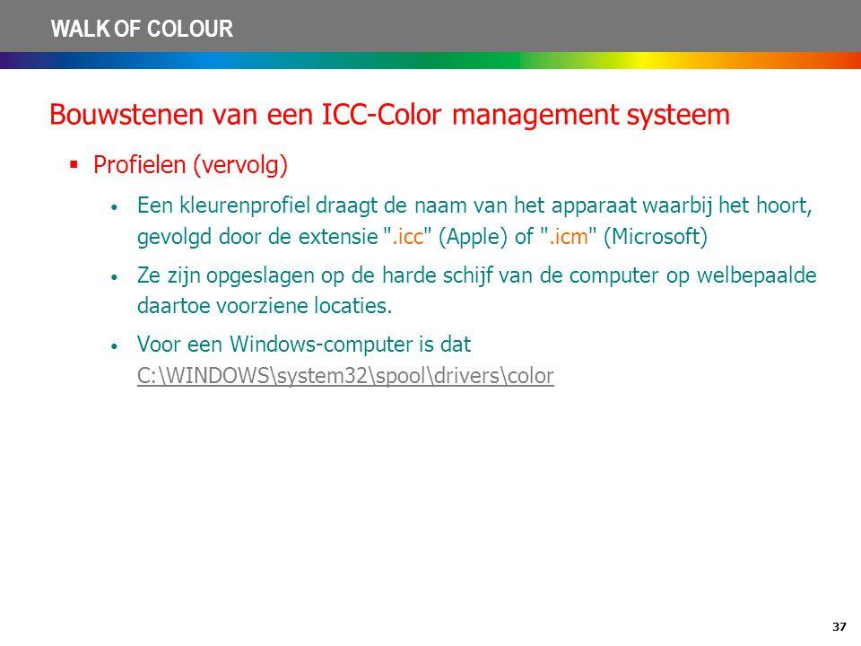 37 WALK OF COLOUR Bouwstenen van een ICC-Color management systeem  Profielen (vervolg) • Een kleurenprofiel draagt de naam van het apparaat waarbij h