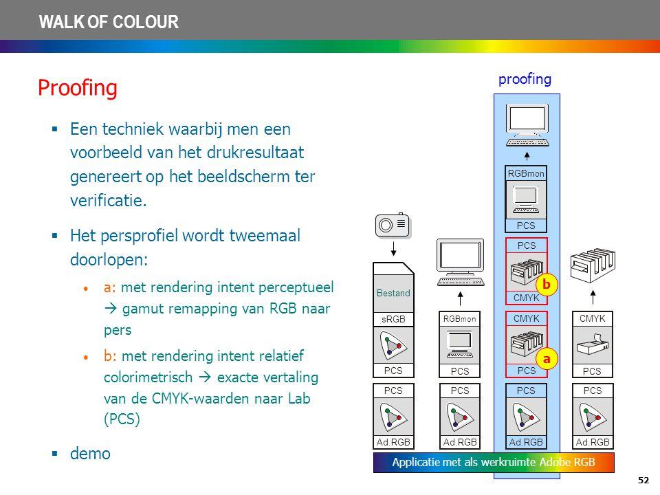 52 WALK OF COLOUR Proofing  Een techniek waarbij men een voorbeeld van het drukresultaat genereert op het beeldscherm ter verificatie.  Het persprof