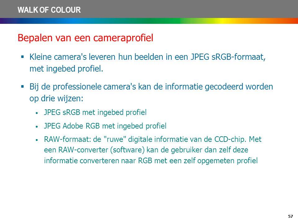 57 WALK OF COLOUR Bepalen van een cameraprofiel  Kleine camera's leveren hun beelden in een JPEG sRGB-formaat, met ingebed profiel.  Bij de professi