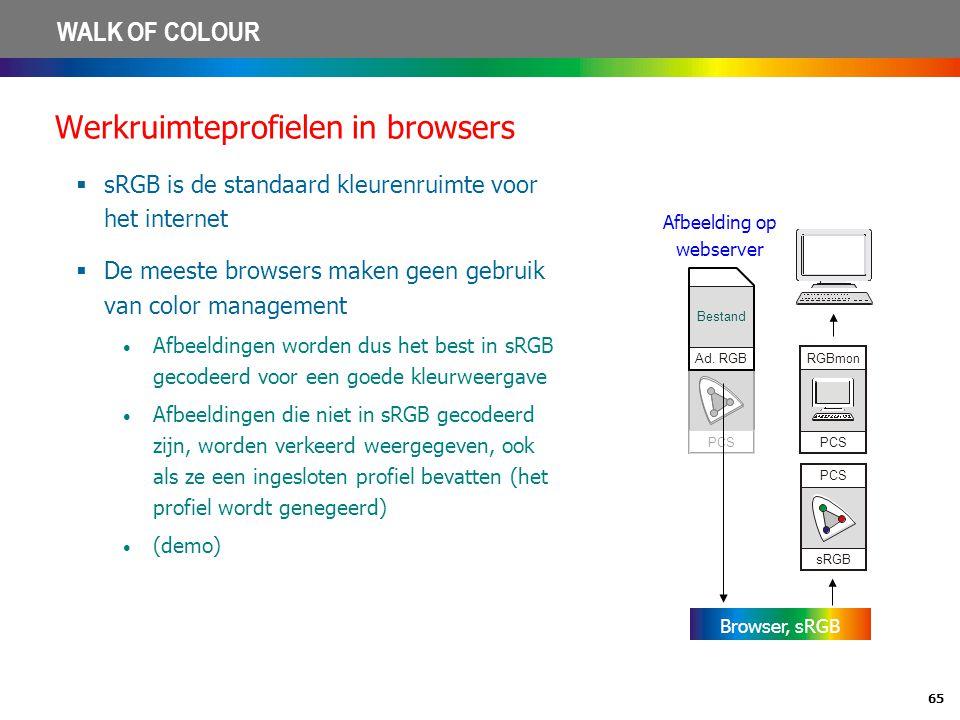 65 WALK OF COLOUR Werkruimteprofielen in browsers  sRGB is de standaard kleurenruimte voor het internet  De meeste browsers maken geen gebruik van c