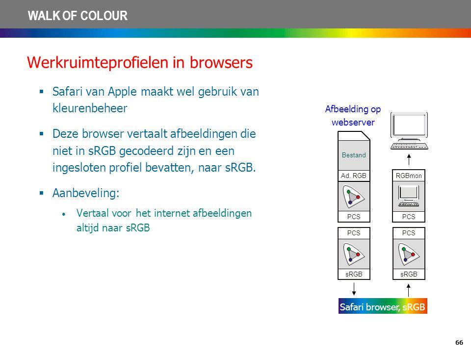 66 WALK OF COLOUR Werkruimteprofielen in browsers  Safari van Apple maakt wel gebruik van kleurenbeheer  Deze browser vertaalt afbeeldingen die niet