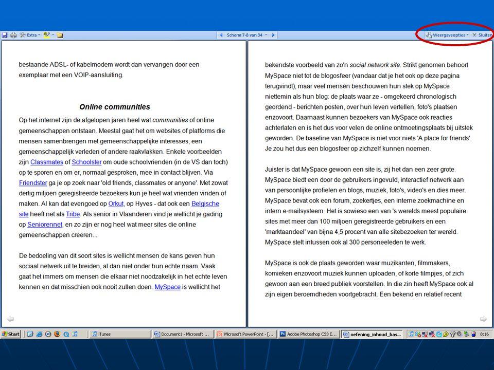 Weergavemogelijkheden • Lezen in volledig scherm • Daarna 'Sluiten'