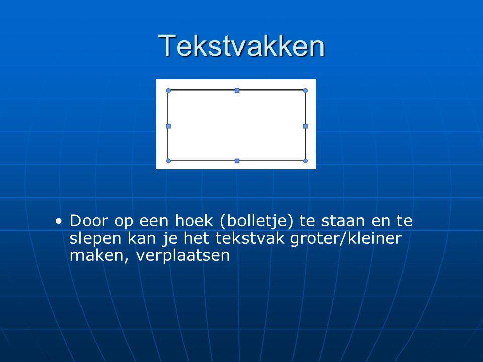 Tekstvakken • •Door op een hoek (bolletje) te staan en te slepen kan je het tekstvak groter/kleiner maken, verplaatsen
