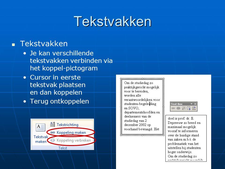 Tekstvakken   Tekstvakken • •Je kan verschillende tekstvakken verbinden via het koppel-pictogram • •Cursor in eerste tekstvak plaatsen en dan koppel