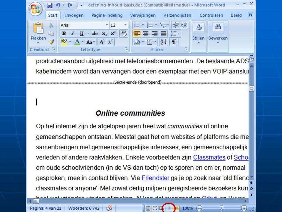Weergavemogelijkheden • Web-layout • Overzicht