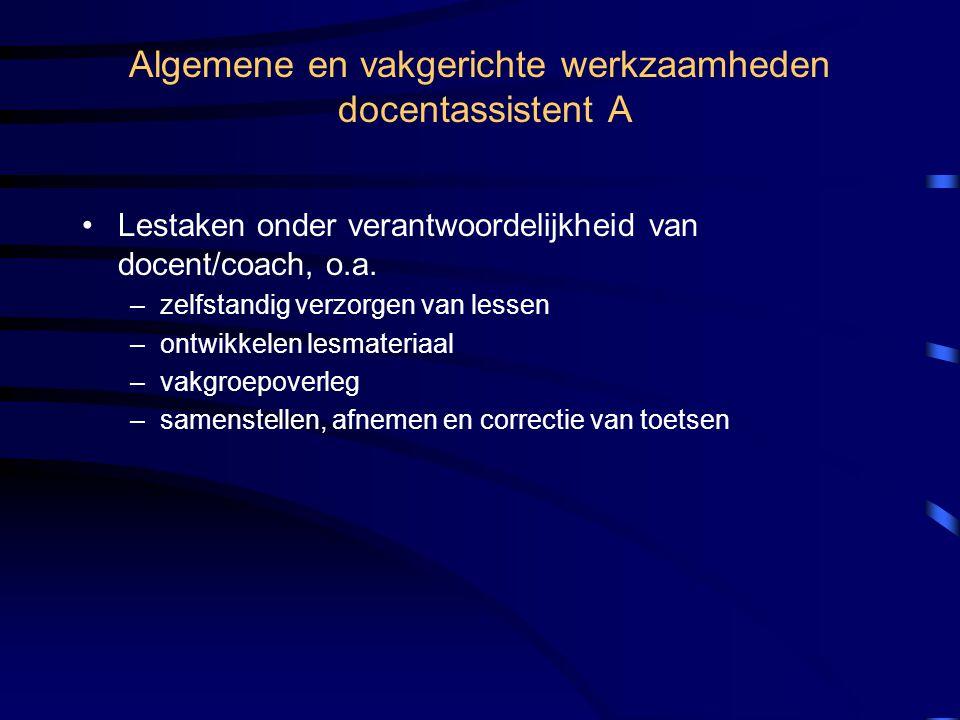 Algemene en vakgerichte werkzaamheden docentassistent A •Lestaken onder verantwoordelijkheid van docent/coach, o.a.