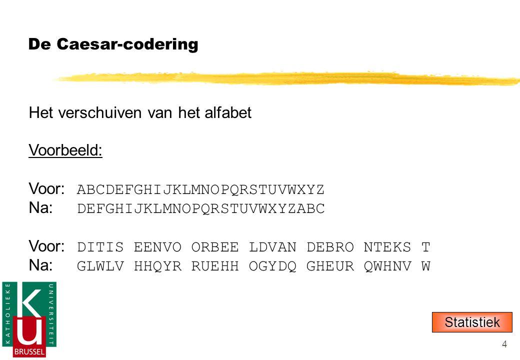4 De Caesar-codering Het verschuiven van het alfabet Voorbeeld: Voor: ABCDEFGHIJKLMNOPQRSTUVWXYZ Na: DEFGHIJKLMNOPQRSTUVWXYZABC Voor: DITIS EENVO ORBEE LDVAN DEBRO NTEKS T Na: GLWLV HHQYR RUEHH OGYDQ GHEUR QWHNV W Statistiek