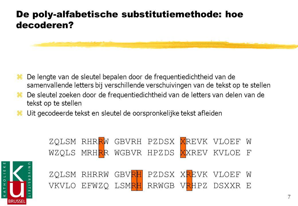 7 ZQLSM RHRRW GBVRH PZDSX XREVK VLOEF W WZQLS MRHRR WGBVR HPZDS XXREV KVLOE F ZQLSM RHRRW GBVRH PZDSX XREVK VLOEF W VKVLO EFWZQ LSMRH RRWGB VRHPZ DSXXR E De poly-alfabetische substitutiemethode: hoe decoderen.
