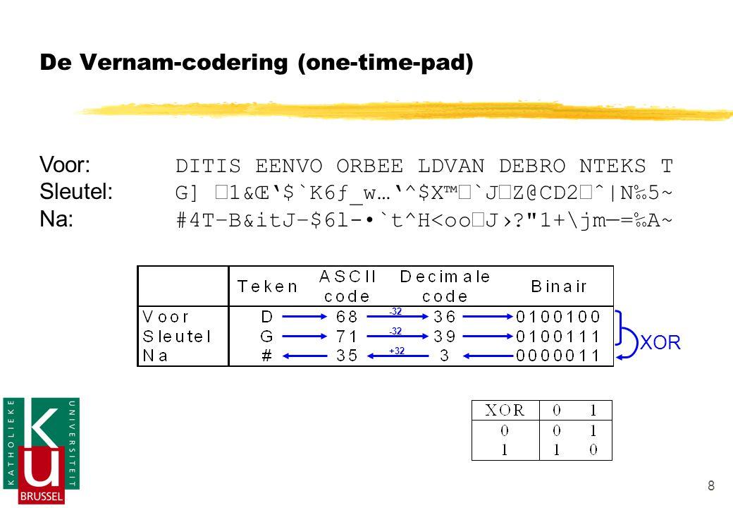 8 De Vernam-codering (one-time-pad) Voor: DITIS EENVO ORBEE LDVAN DEBRO NTEKS T Sleutel: G] 1&Œ'$`K6ƒ_w…'^$X™Ž`JZ@CD2žˆ|N‰5~ Na: #4T–B&itJ–$6l-•`t^H<ooŽJ›? 1+\jm—=‰A~ XOR -32 +32