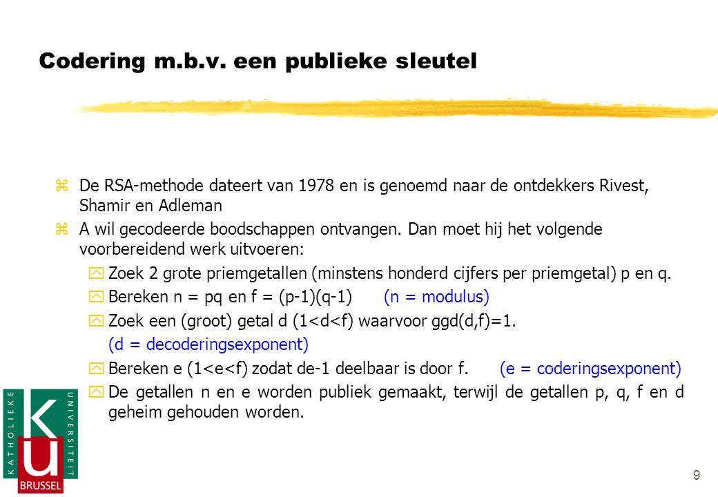 9 zDzDe RSA-methode dateert van 1978 en is genoemd naar de ontdekkers Rivest, Shamir en Adleman zAzA wil gecodeerde boodschappen ontvangen.