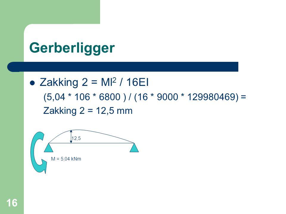 16 Gerberligger  Zakking 2 = Ml 2 / 16EI (5,04 * 106 * 6800 ) / (16 * 9000 * 129980469) = Zakking 2 = 12,5 mm 12,5 M = 5,04 kNm