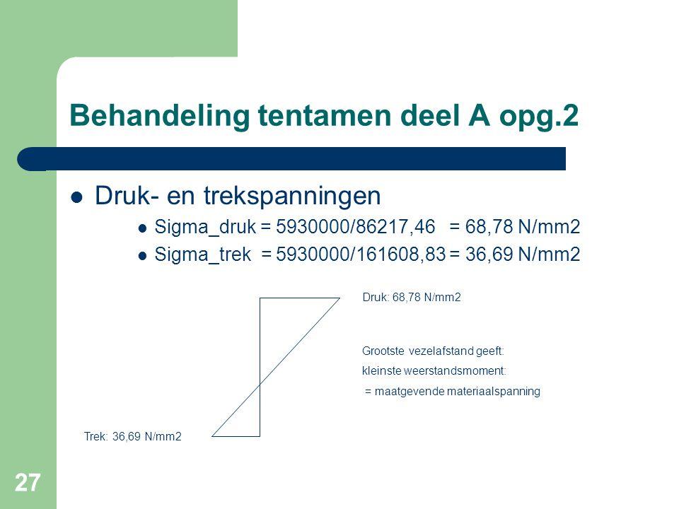27 Behandeling tentamen deel A opg.2  Druk- en trekspanningen  Sigma_druk = 5930000/86217,46 = 68,78 N/mm2  Sigma_trek = 5930000/161608,83 = 36,69