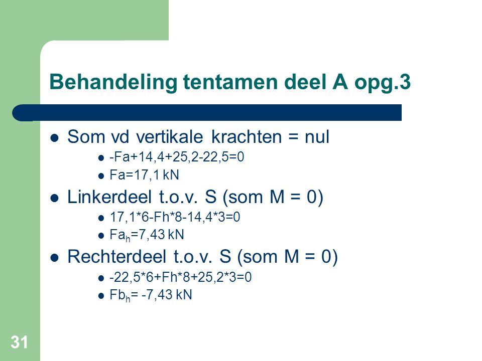 31 Behandeling tentamen deel A opg.3  Som vd vertikale krachten = nul  -Fa+14,4+25,2-22,5=0  Fa=17,1 kN  Linkerdeel t.o.v. S (som M = 0)  17,1*6-