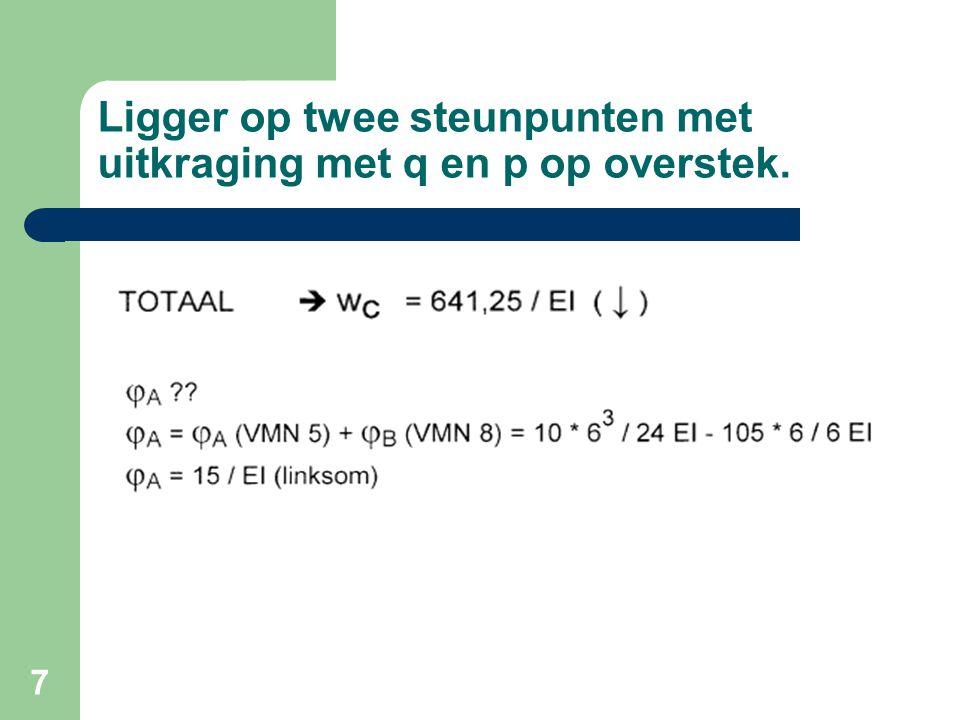 28 Behandeling tentamen deel A opg.2  EI = 2243,3  Zakking max = 0,004L = 22mm  Zakking= 5*2*5,4 4 / 384*2243,3 (benadering)  Zakking = 9,9 mm  9,9 < 22 = Stijfheid akkoord