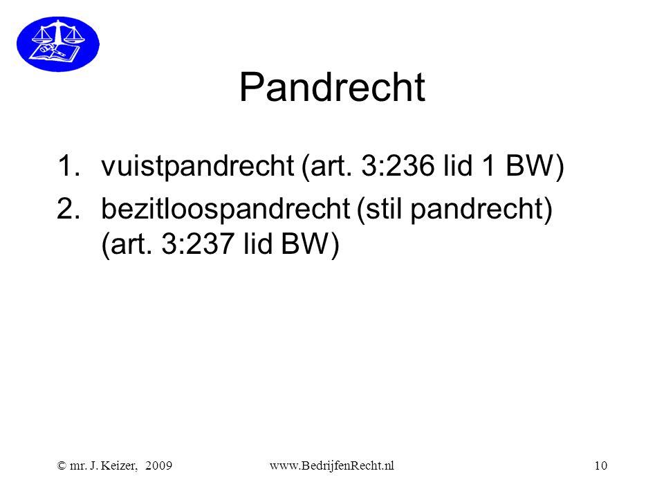 © mr. J. Keizer, 2009www.BedrijfenRecht.nl10 Pandrecht 1.vuistpandrecht (art. 3:236 lid 1 BW) 2.bezitloospandrecht (stil pandrecht) (art. 3:237 lid BW