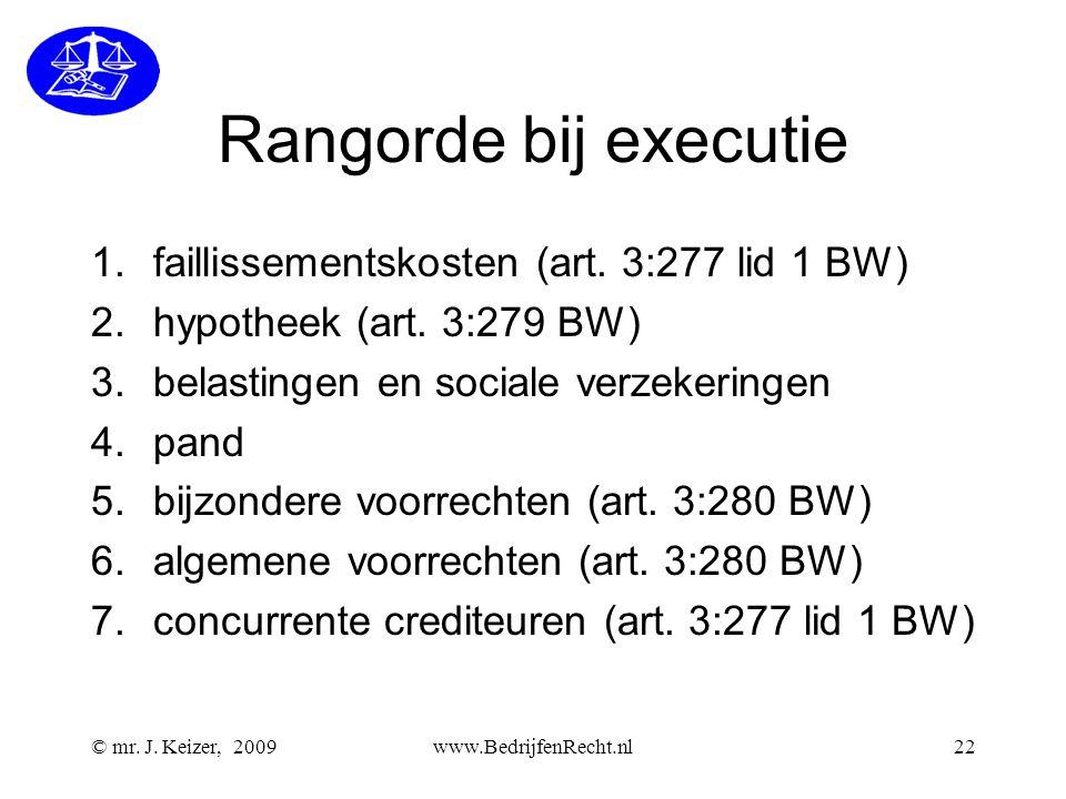 © mr. J. Keizer, 2009www.BedrijfenRecht.nl22 Rangorde bij executie 1.faillissementskosten (art. 3:277 lid 1 BW) 2.hypotheek (art. 3:279 BW) 3.belastin