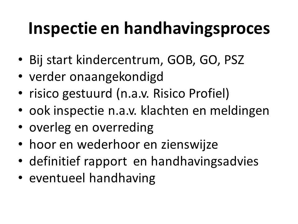 Inspectie en handhavingsproces • Bij start kindercentrum, GOB, GO, PSZ • verder onaangekondigd • risico gestuurd (n.a.v. Risico Profiel) • ook inspect