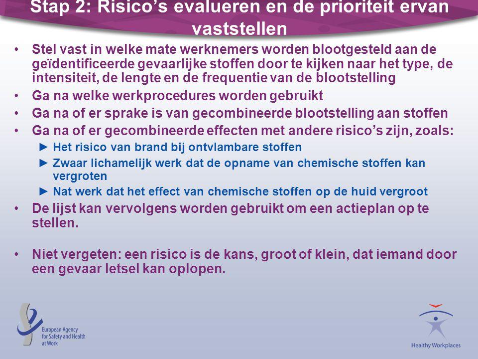 Stap 2: Risico's evalueren en de prioriteit ervan vaststellen •Stel vast in welke mate werknemers worden blootgesteld aan de geïdentificeerde gevaarli