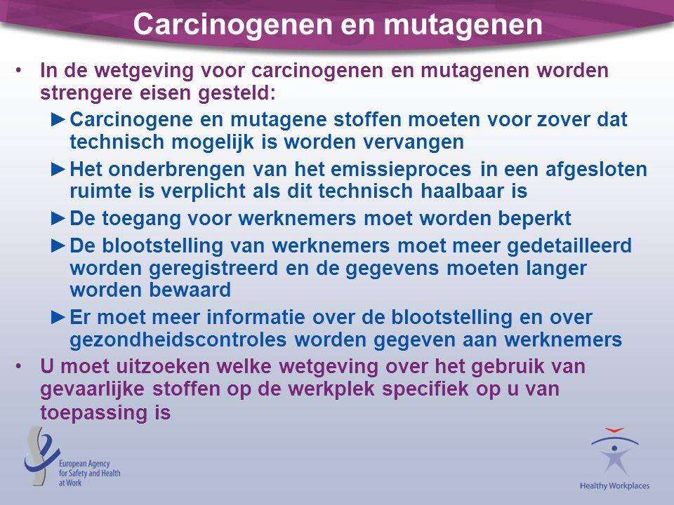Carcinogenen en mutagenen •In de wetgeving voor carcinogenen en mutagenen worden strengere eisen gesteld: ►Carcinogene en mutagene stoffen moeten voor