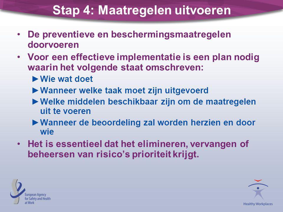 Stap 4: Maatregelen uitvoeren •De preventieve en beschermingsmaatregelen doorvoeren •Voor een effectieve implementatie is een plan nodig waarin het vo
