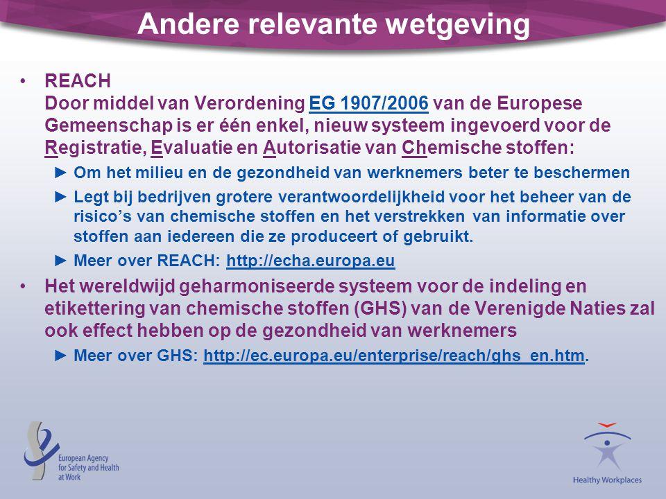 Andere relevante wetgeving •REACH Door middel van Verordening EG 1907/2006 van de Europese Gemeenschap is er één enkel, nieuw systeem ingevoerd voor d