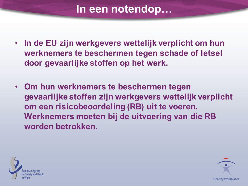 •In de EU zijn werkgevers wettelijk verplicht om hun werknemers te beschermen tegen schade of letsel door gevaarlijke stoffen op het werk. •Om hun wer