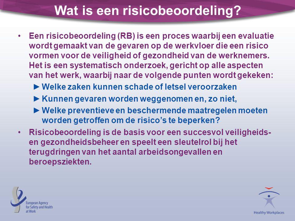 Wat is een risicobeoordeling? •Een risicobeoordeling (RB) is een proces waarbij een evaluatie wordt gemaakt van de gevaren op de werkvloer die een ris