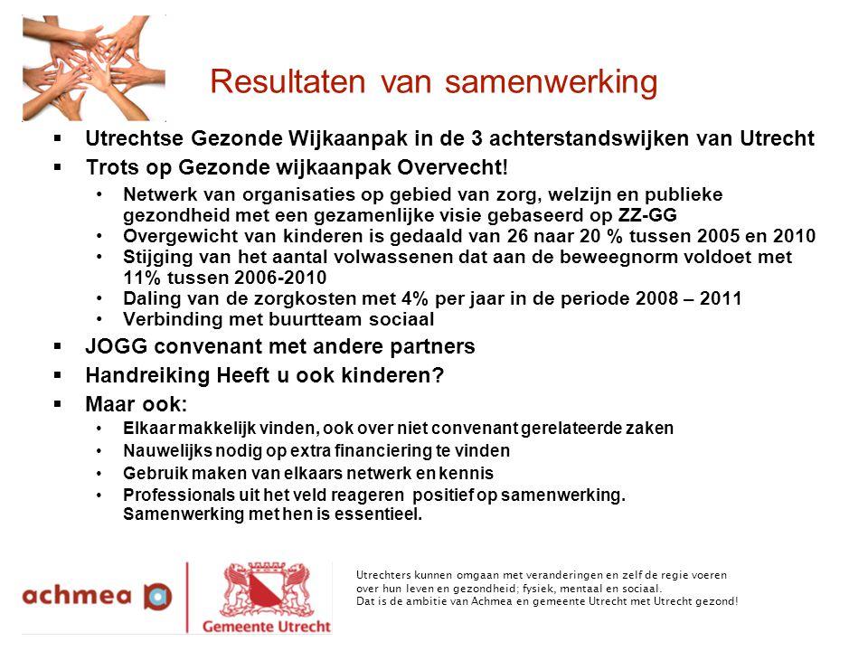 Resultaten van samenwerking  Utrechtse Gezonde Wijkaanpak in de 3 achterstandswijken van Utrecht  Trots op Gezonde wijkaanpak Overvecht.
