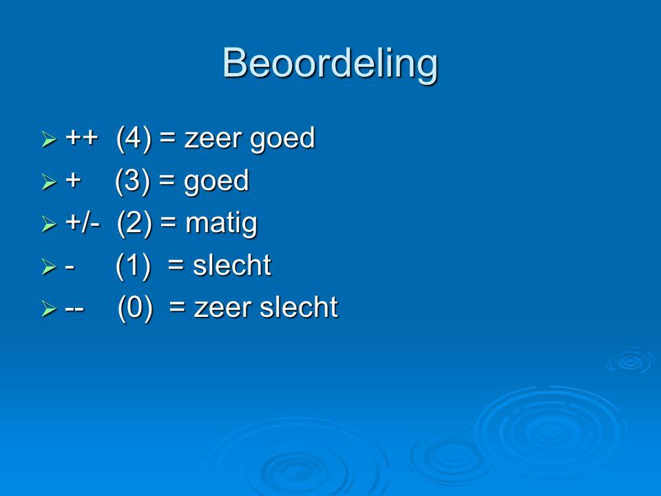 Beoordeling  ++ (4) = zeer goed  + (3) = goed  +/- (2) = matig  - (1) = slecht  -- (0) = zeer slecht