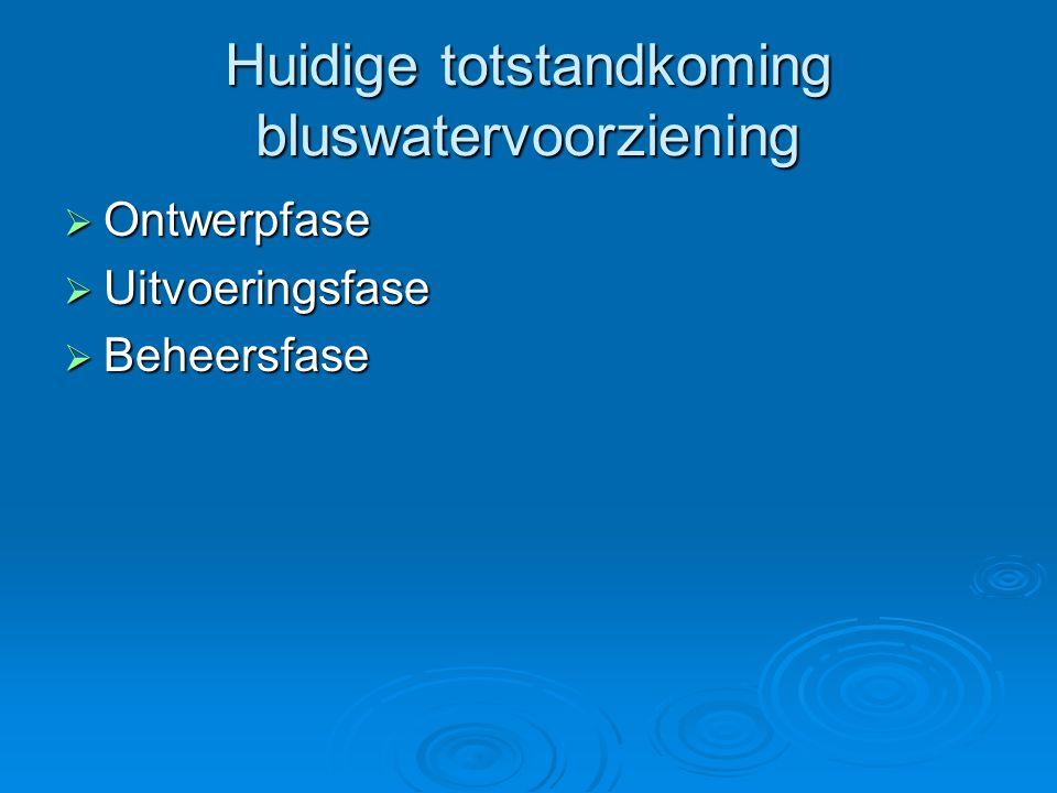 Huidige totstandkoming bluswatervoorziening  Ontwerpfase  Uitvoeringsfase  Beheersfase
