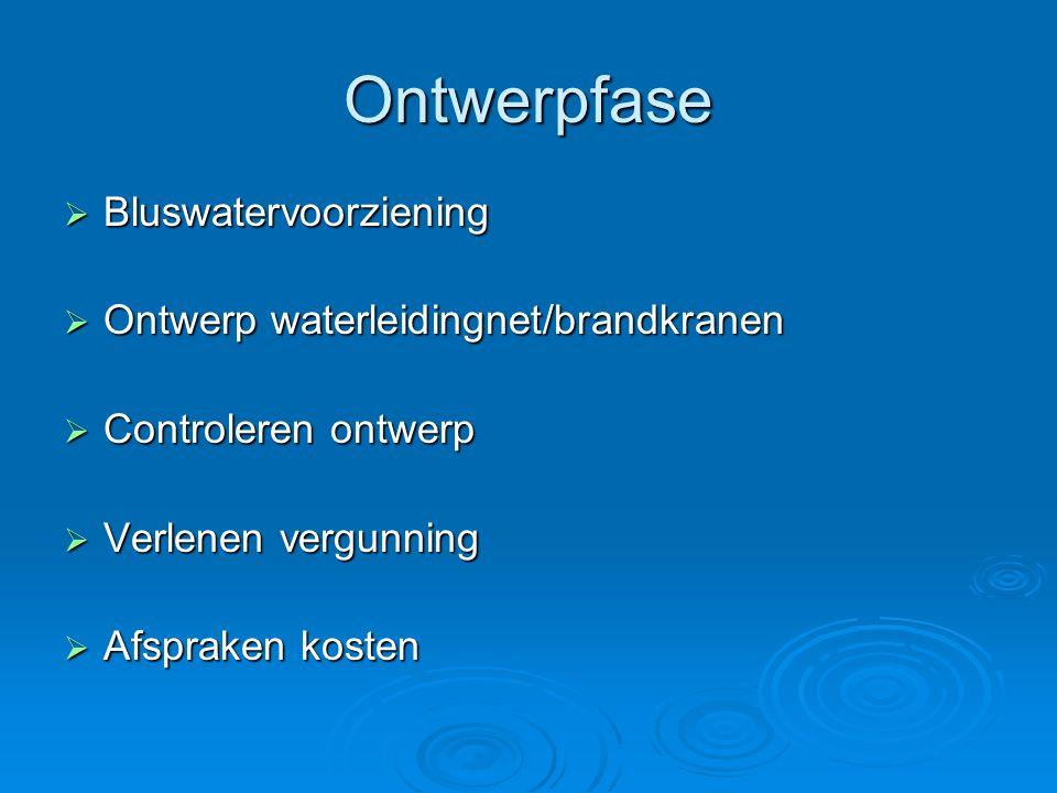 Ontwerpfase  Bluswatervoorziening  Ontwerp waterleidingnet/brandkranen  Controleren ontwerp  Verlenen vergunning  Afspraken kosten