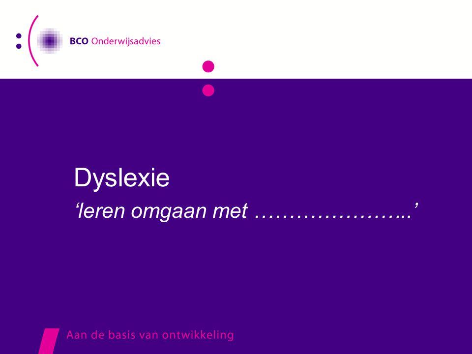 Dyslexie 'leren omgaan met …………………..'