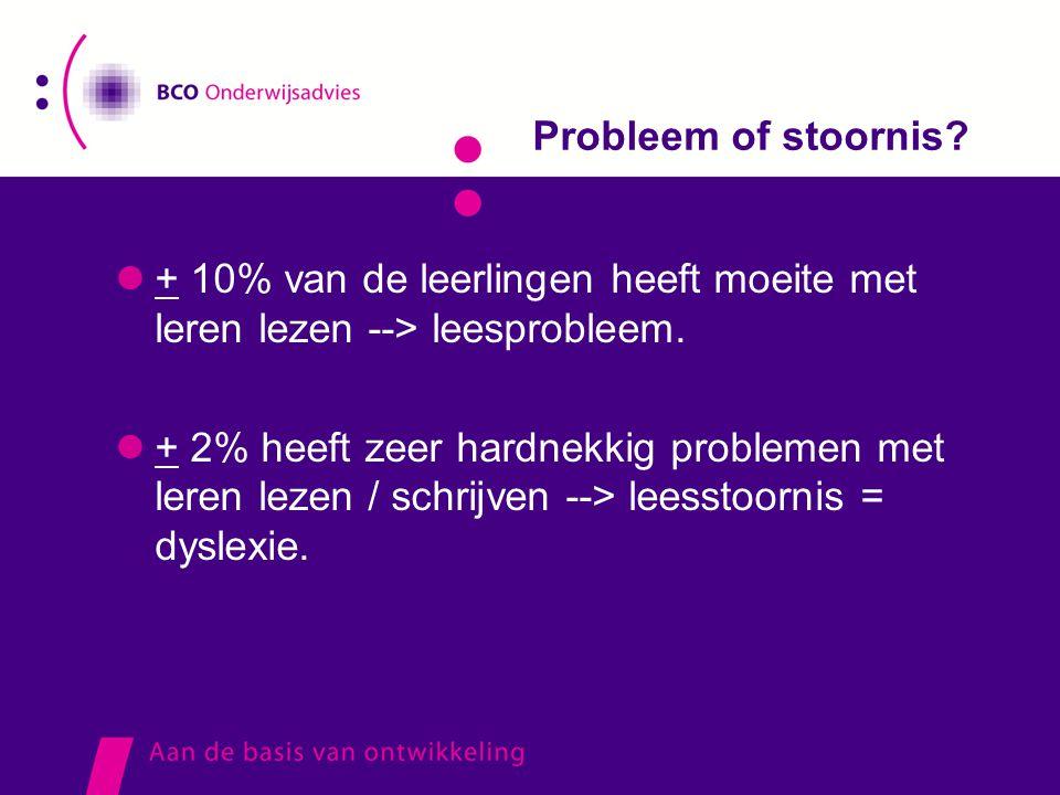 Probleem of stoornis?  + 10% van de leerlingen heeft moeite met leren lezen --> leesprobleem.  + 2% heeft zeer hardnekkig problemen met leren lezen